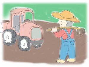 農夫とトラクター